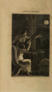 "The elements of astronomy; 1823 a women teaching a young girl to use a telescope to study the moon. Used in Kim Tooley's ""The Science Education of American Girls"" as evidence for the argument that in the early 19th century science was for girls while classics was for boys."